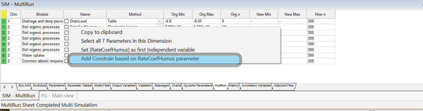 New options for Sensitivity Analysis – constrain by